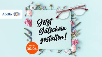 Voucher in front of Easter arrangement with glasses