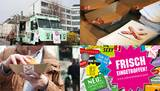 Collage: Food-Truck, Semmel mit Schweinebauch, Give-aways