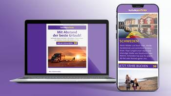[Translate to EN:] Desktop und Mobile-Phone mit Holiday Extras Newsletter