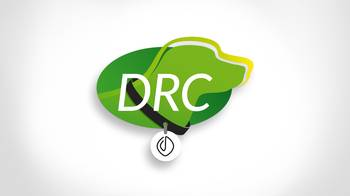[Translate to EN:] DRC Logo - Hund darin hat Halsband mit Bloom Hundemarke