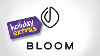 [Translate to EN:] holiday extras logo hängt an Bloom Logo